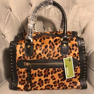 OrYANY Cheetah-print haircalf studded satchel